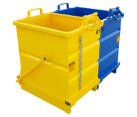 Multi-compartment skip Tilting or opening bottom